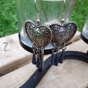 Blue goldstone heart earrings